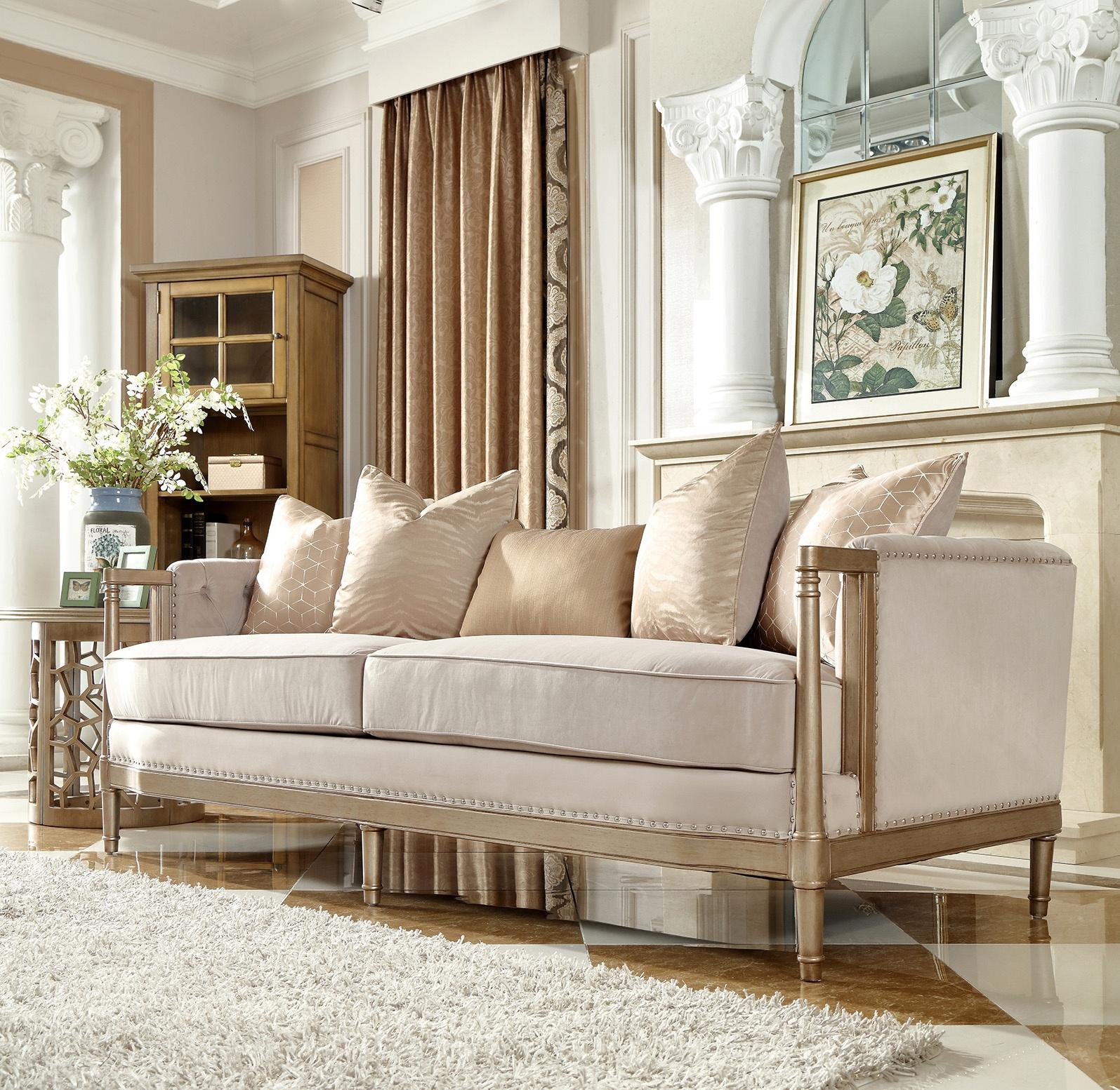 Traditional Champagne Fabric and Fabric, Wood Sofa 1 pcs HD-625 by Homey Design