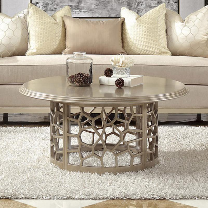 Modern Champagne, Gold Finish  and Wood Coffee Table 1 pcs HD-8911 by Homey Design