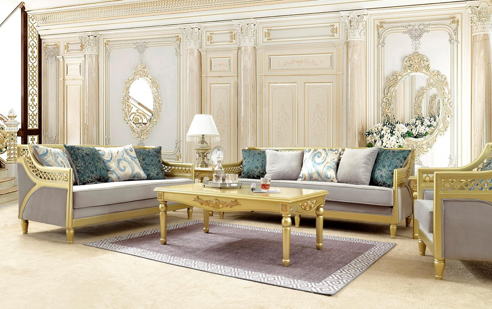 Traditional Gold, Gray, Metallic Fabric and Fabric, Wood Sofa and Loveseat 2 pcs HD-2063  by Homey Design