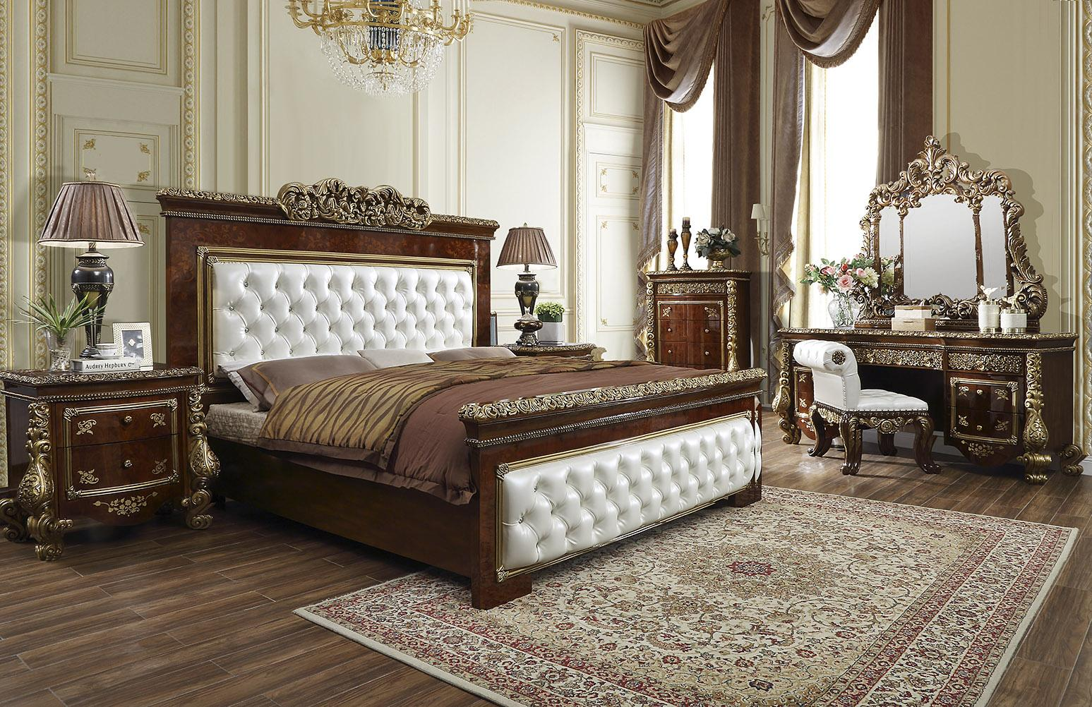 Traditional Brown, White, Gold Finish Leather and Wood California King Panel Bedroom Set 6 pcs w/Chest HD-1803 by Homey Design