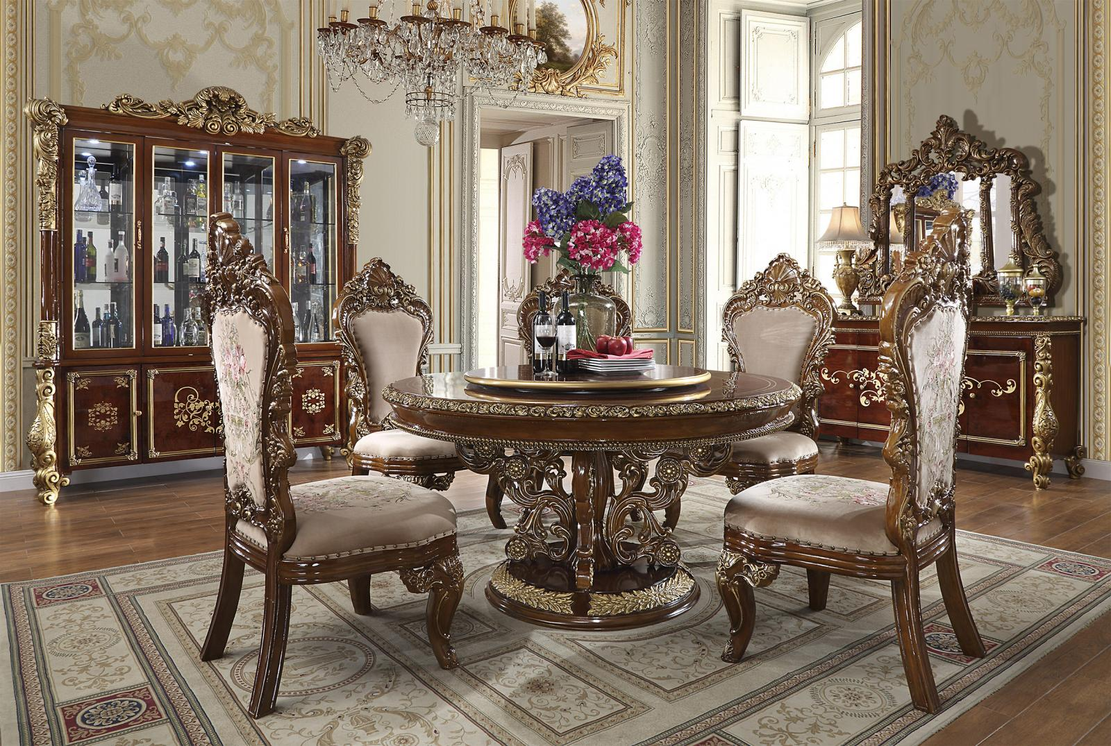 Traditional Gold, Dark Brown  and Solid Hardwood Dining Table Set 5 pcs HD-1803 by Homey Design