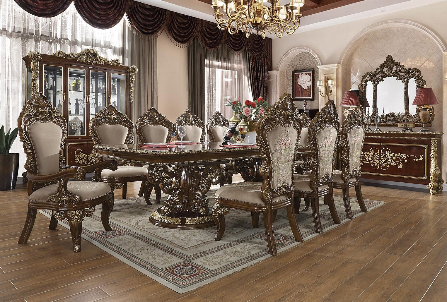 Traditional Gold, Dark Brown Chenille and Solid Hardwood Dining Table Set 12 pcs HD-1803 by Homey Design