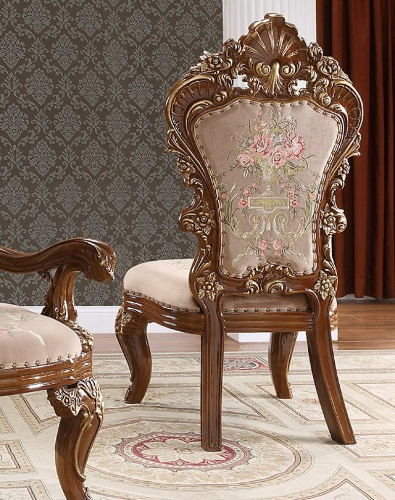 Traditional Gold, Dark Brown Chenille and Solid Hardwood Dining Side Chair 2 pcs HD-1803 by Homey Design