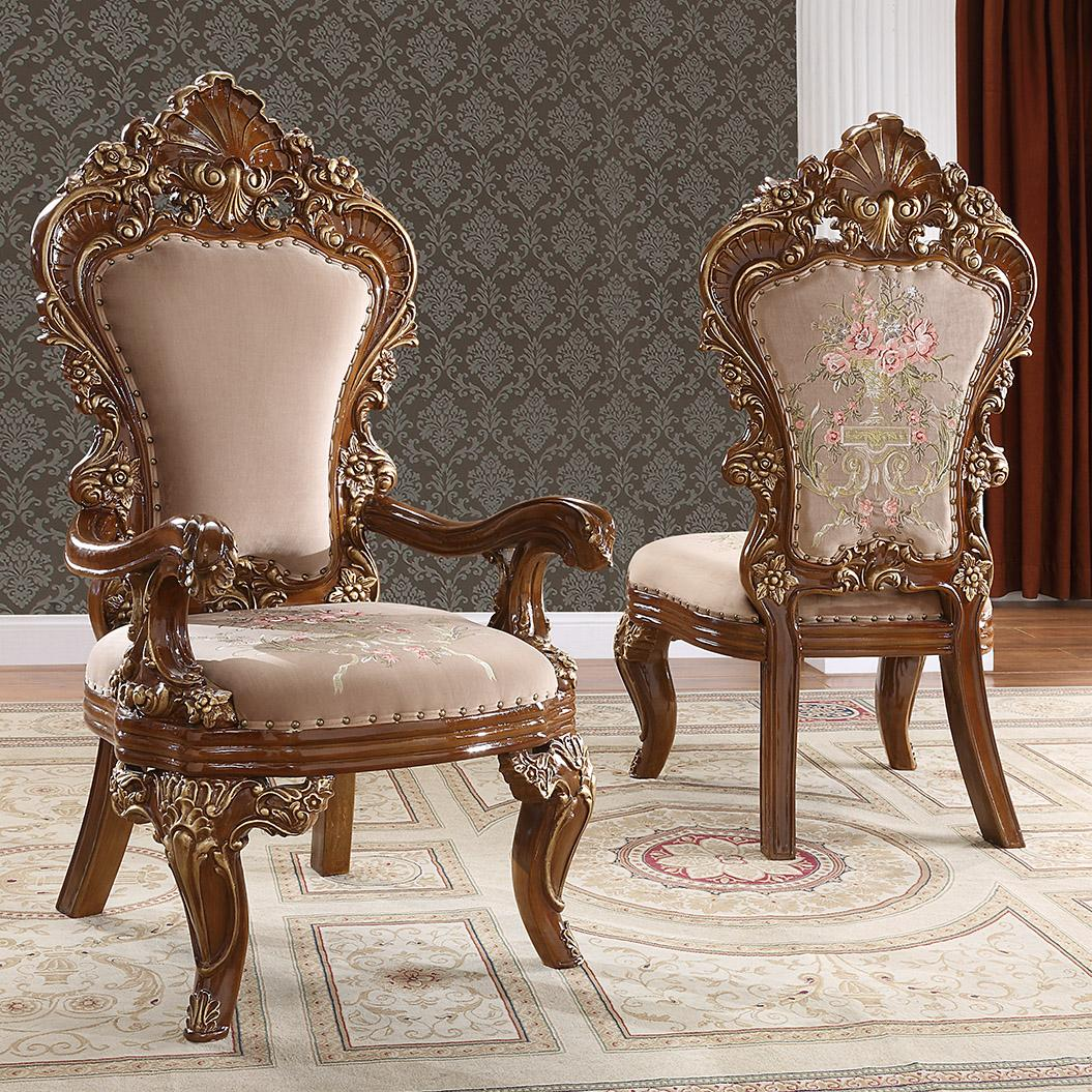 Traditional Gold, Dark Brown Chenille and Solid Hardwood Dining Arm Chair 2 pcs HD-1803 by Homey Design