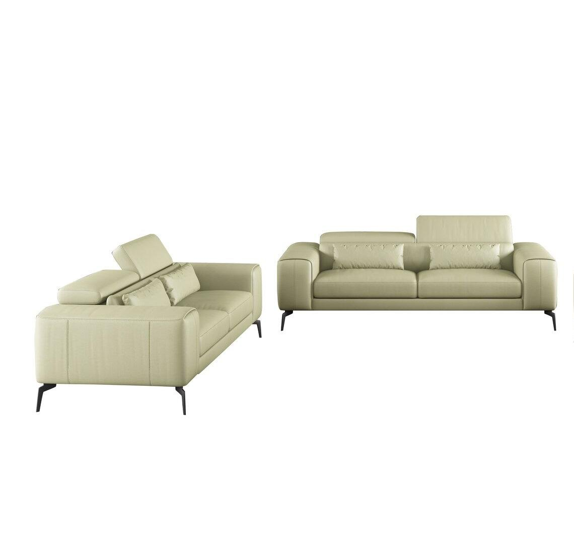 Contemporary, Modern Off-White Leather and Wood, Top Grain Leather, Solid Hardwood Sofa Set 2 pcs  CAVOUR by European Furniture