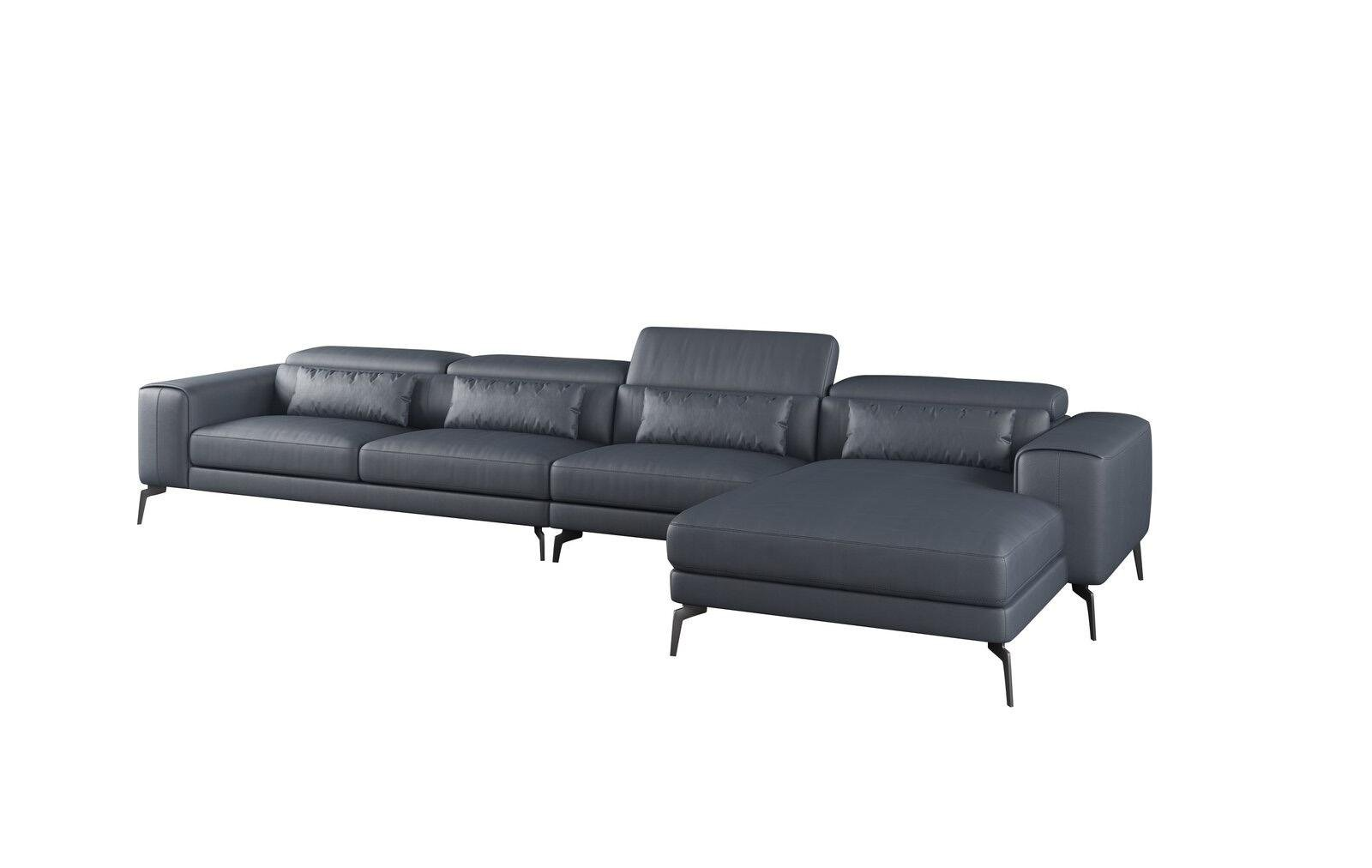 Contemporary, Modern Gray, Smoke Leather and Wood, Solid Hardwood 4-seat Sectional Sofa RHC CAVOUR by European Furniture