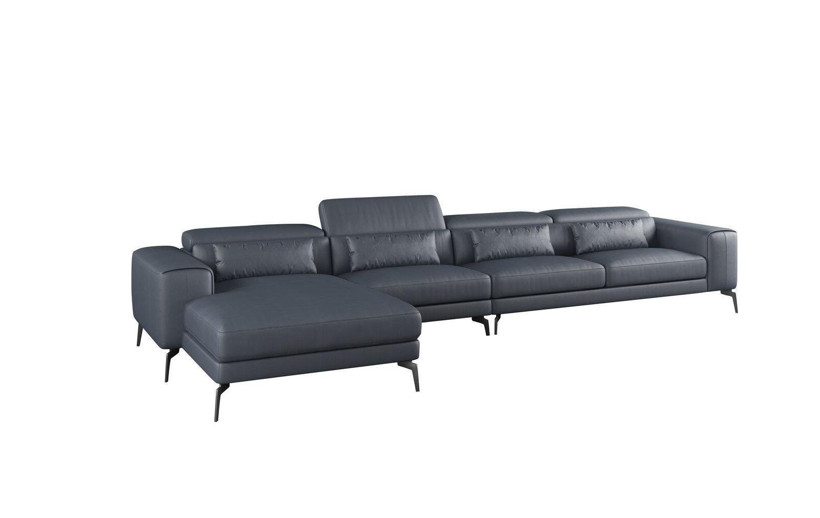 Contemporary, Modern Gray, Smoke Leather and Wood, Solid Hardwood 4-seat Sectional Sofa LHC CAVOUR by European Furniture