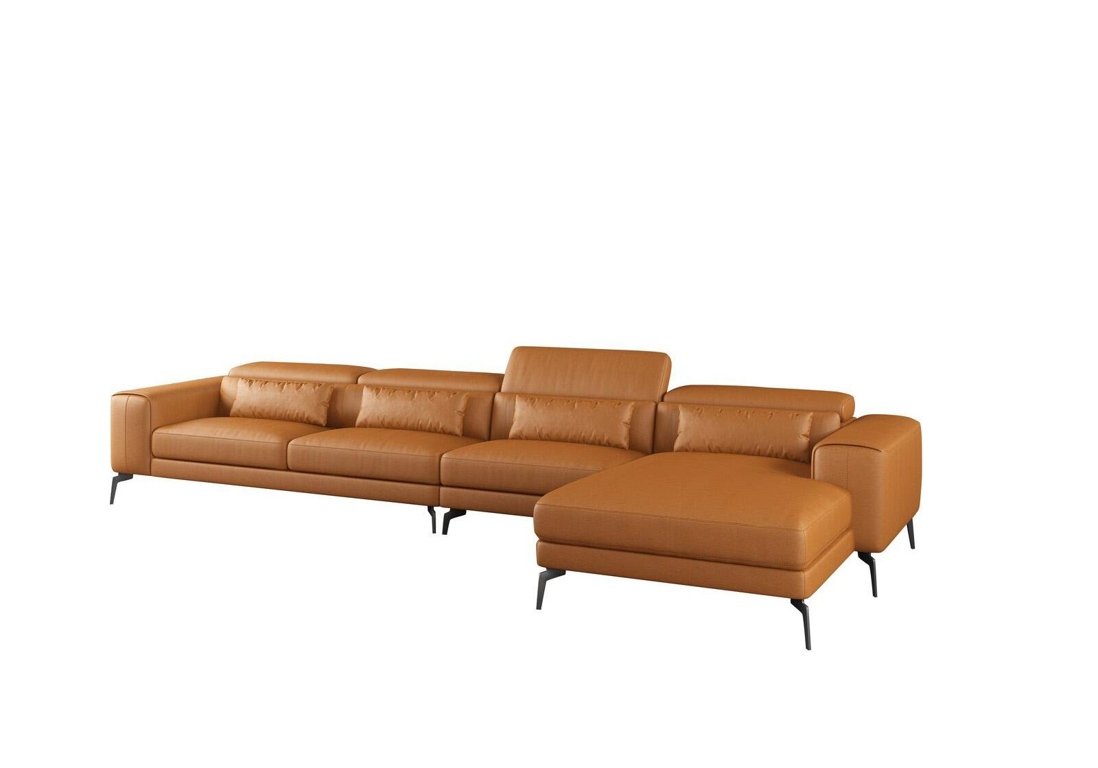 Contemporary, Modern Cognac Leather and Wood, Solid Hardwood 4 seat Sectional Sofa RHC CAVOUR by European Furniture