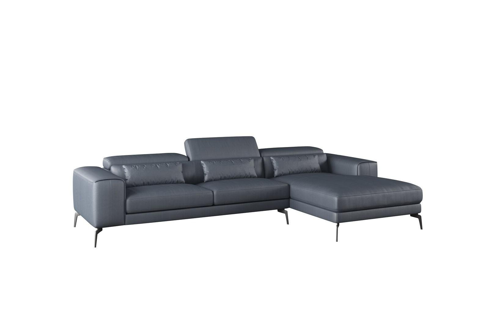Contemporary, Modern Gray, Smoke Leather and Wood, Solid Hardwood Sectional Sofa RHC CAVOUR by European Furniture
