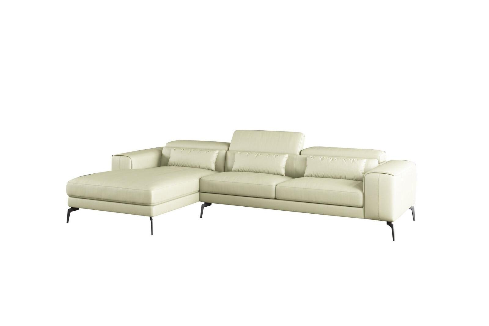 Contemporary, Modern Off-White Leather and Wood, Solid Hardwood Sectional Sofa LHC CAVOUR by European Furniture