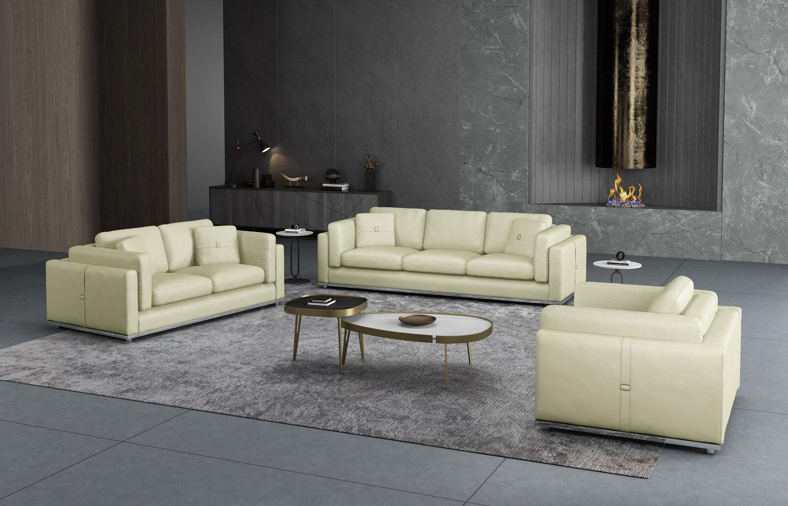 Contemporary, Modern Off-White Leather and Wood, Genuine leather, Solid Hardwood Sofa Set 3 pcs PICASSO by European Furniture