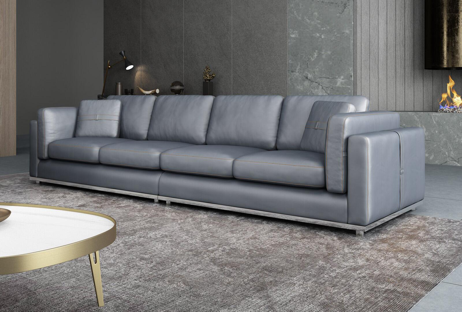 Contemporary, Modern Gray, Smoke Leather and Wood, Genuine leather, Solid Hardwood 4-seat Sofa PICASSO by European Furniture
