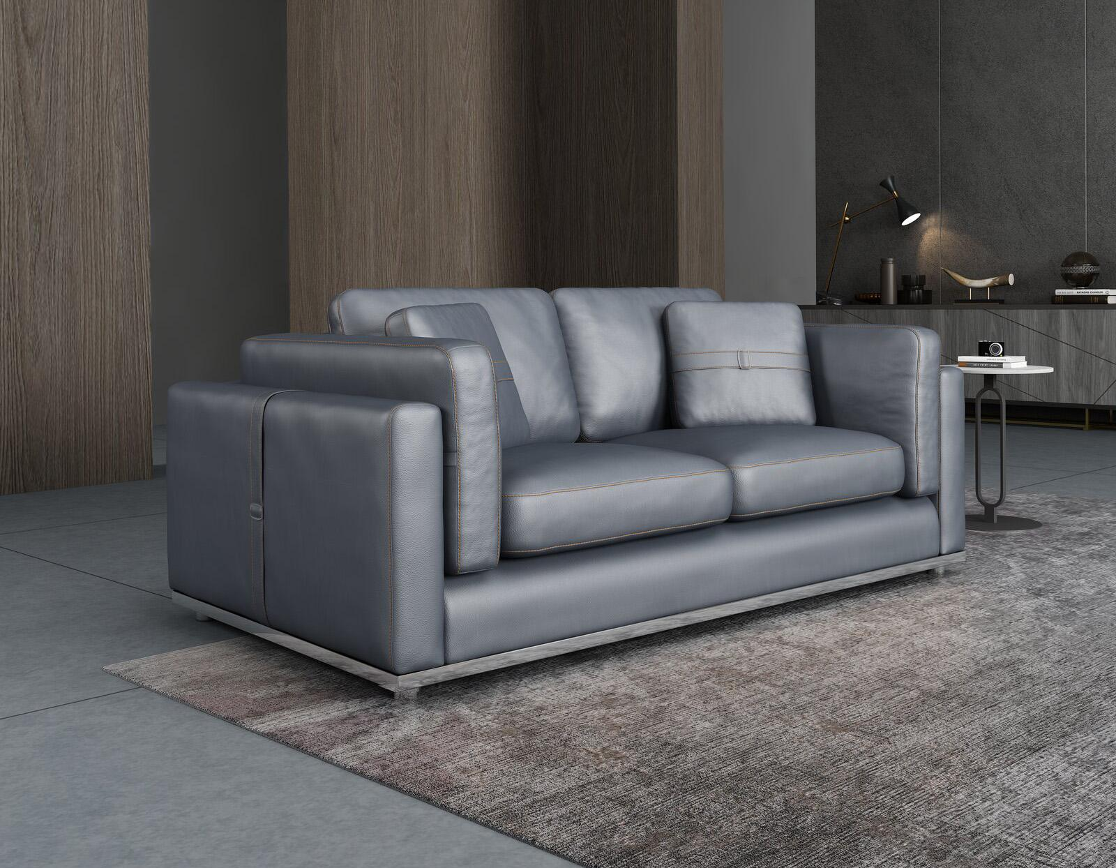 Contemporary, Modern Gray, Smoke Leather and Wood, Genuine leather, Solid Hardwood Loveseat 1 pcs PICASSO by European Furniture