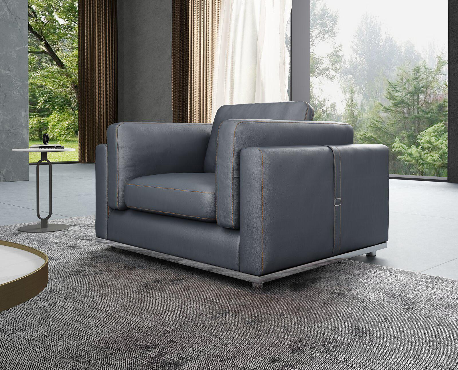 Contemporary, Modern Gray, Smoke Leather and Wood, Genuine leather, Solid Hardwood Arm Chair 1 pcs PICASSO by European Furniture