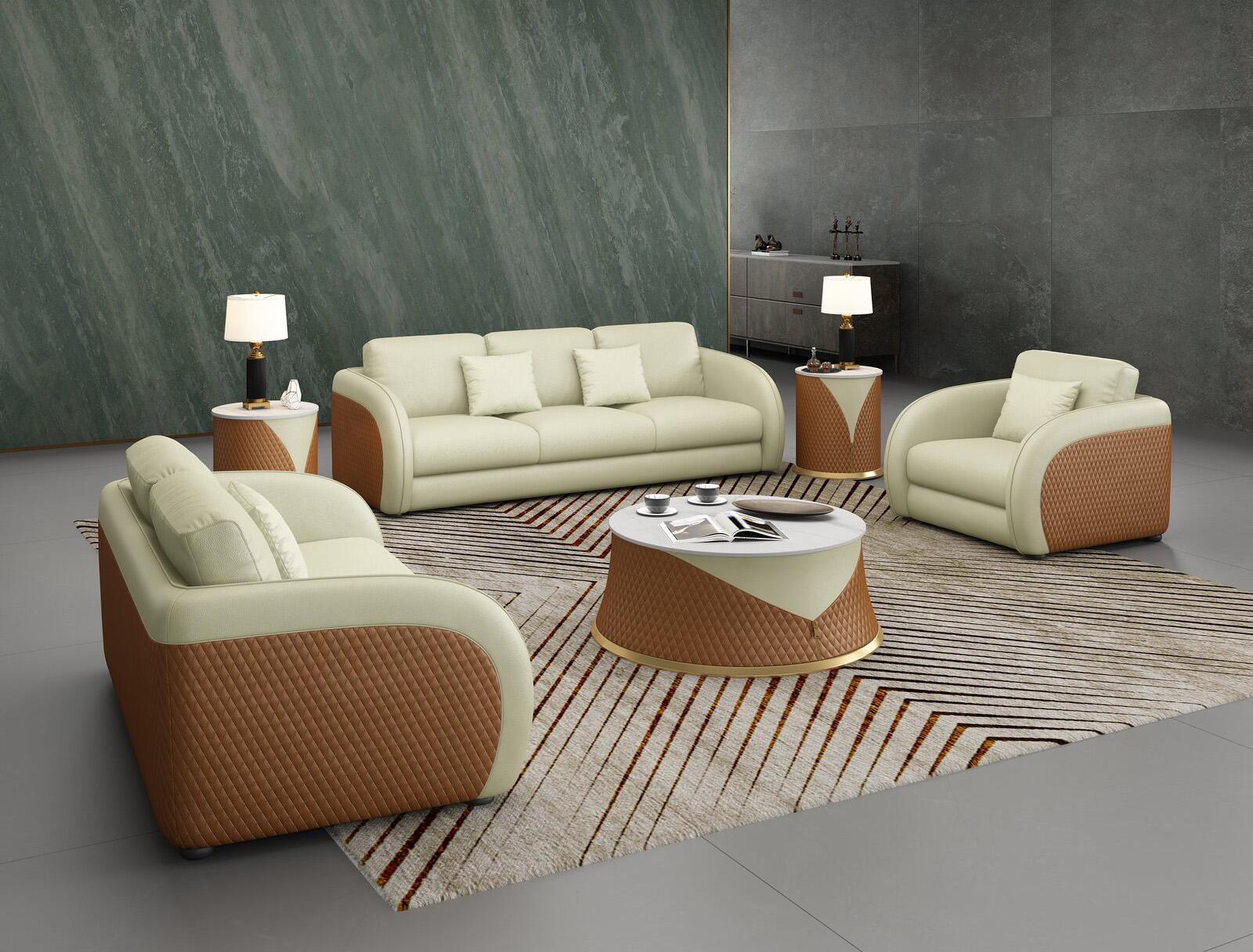Contemporary, Modern Beige, Cognac Leather and Wood, Genuine leather, Solid Hardwood Sofa Set 3 pcs NOIR  by European Furniture