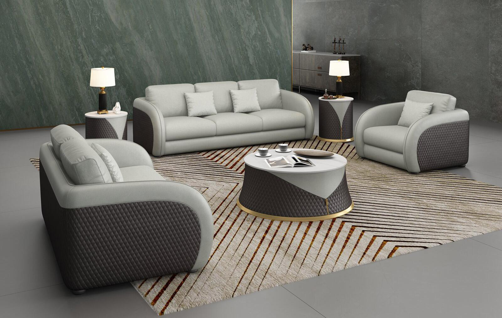 Contemporary, Modern Chocolate, Light Grey Leather and Wood, Genuine leather, Solid Hardwood Sofa Set 3 pcs NOIR  by European Furniture