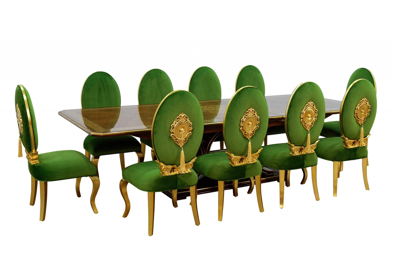 Contemporary, Modern Emerald, Gold, Ebony Velvet and Wood, Solid Hardwood Dining Table Set 11 pcs ROSELLA by European Furniture
