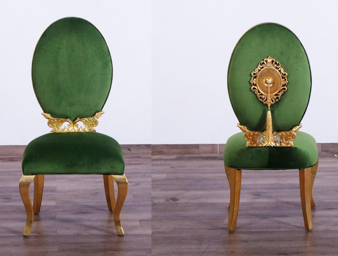 Contemporary, Modern Emerald, Gold Velvet and Wood, Solid Hardwood Dining Chair Set 2 pcs LUXOR  by European Furniture