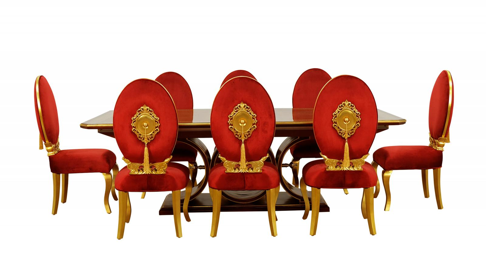 Contemporary, Modern Gold, Red, Ebony Velvet and Wood, Solid Hardwood Dining Table Set 9 pcs ROSELLA by European Furniture