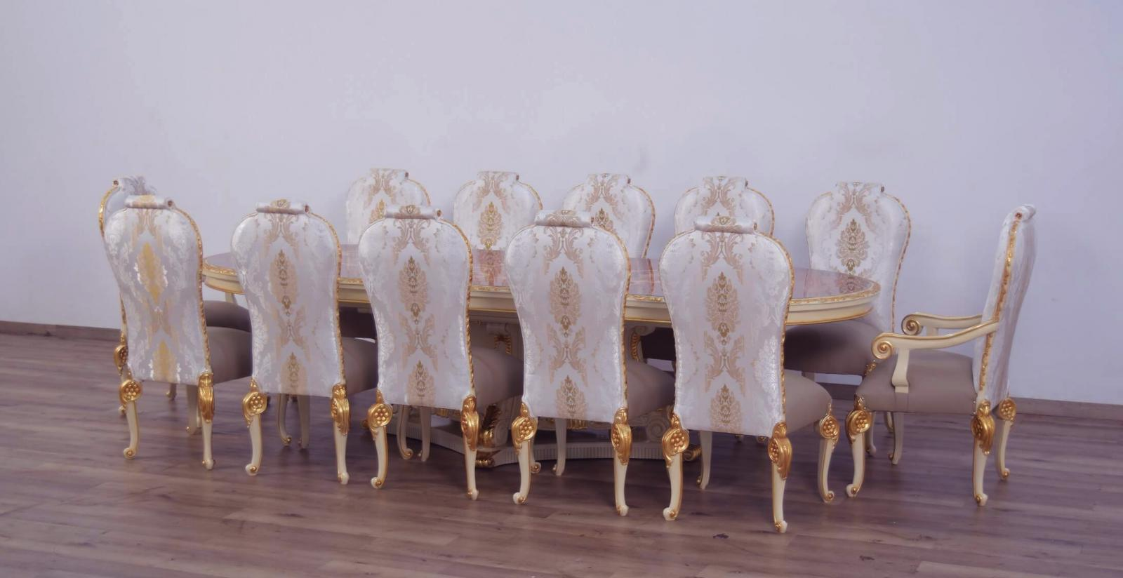 Contemporary, Modern Beige, Gold, Pearl Leather and Wood, Fabric, Solid Hardwood Dining Table Set 13 pcs BELLAGIO by European Furniture