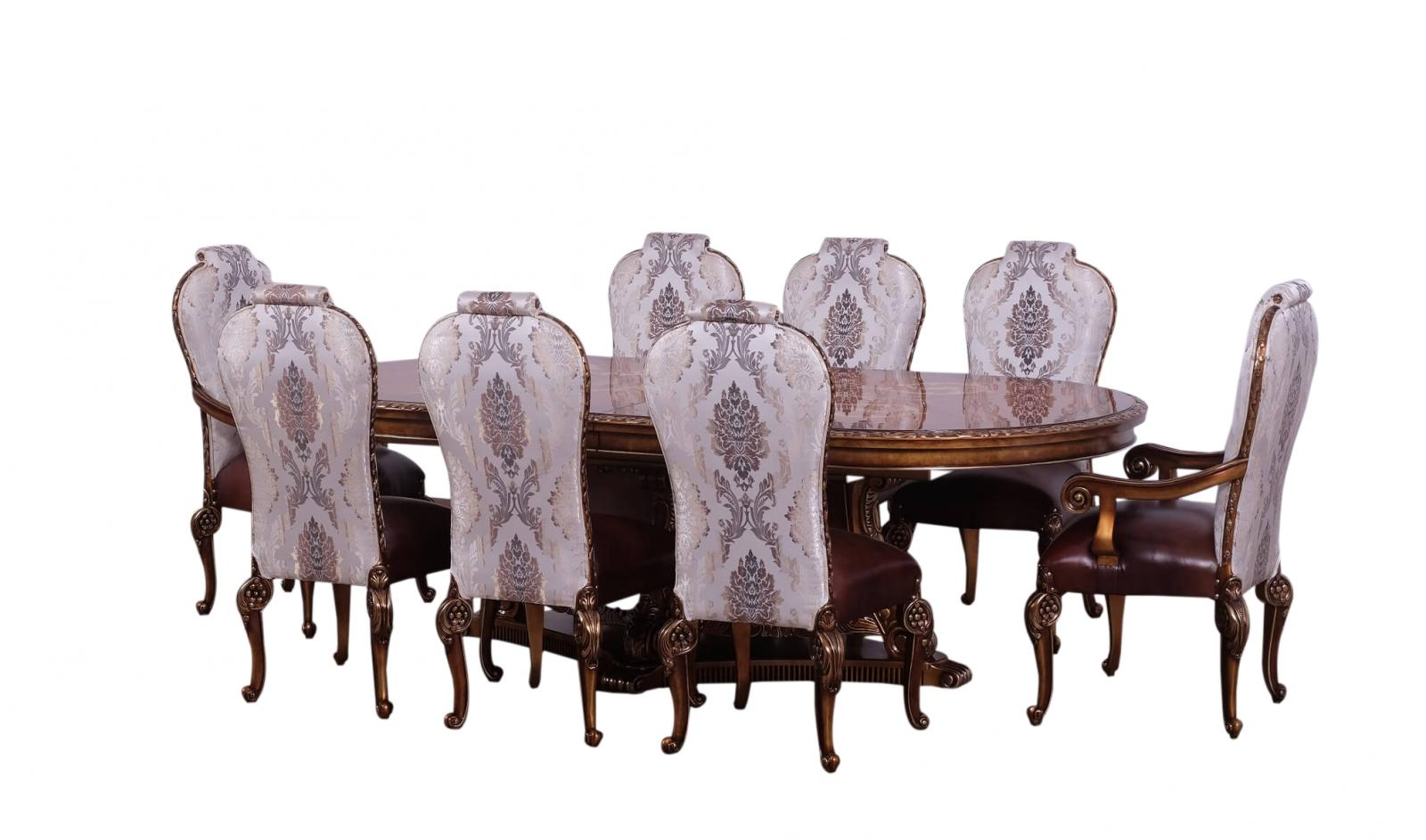 Contemporary, Modern Bronze, Gold  and Wood, Solid Hardwood Dining Table Set 9 pcs BELLAGIO by European Furniture
