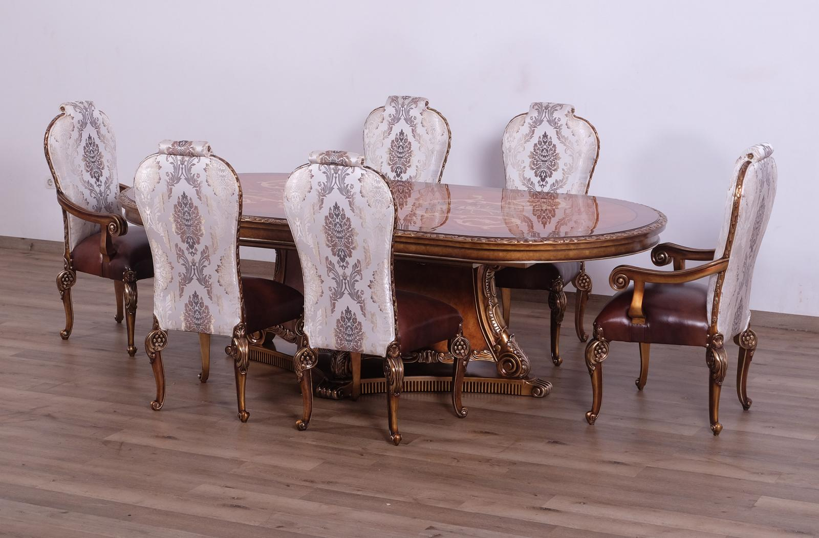 Contemporary, Modern Bronze, Gold  and Wood, Solid Hardwood Dining Table Set 7 pcs BELLAGIO by European Furniture