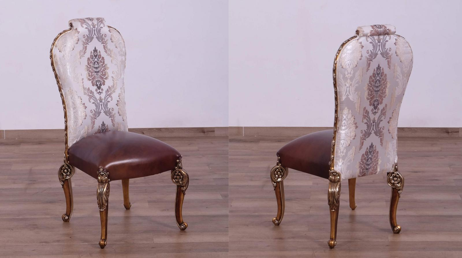 Contemporary, Modern Bronze, Gold, Pearl Leather and Fabric, Wood, Solid Hardwood Dining Chair Set 2 pcs BELLAGIO by European Furniture