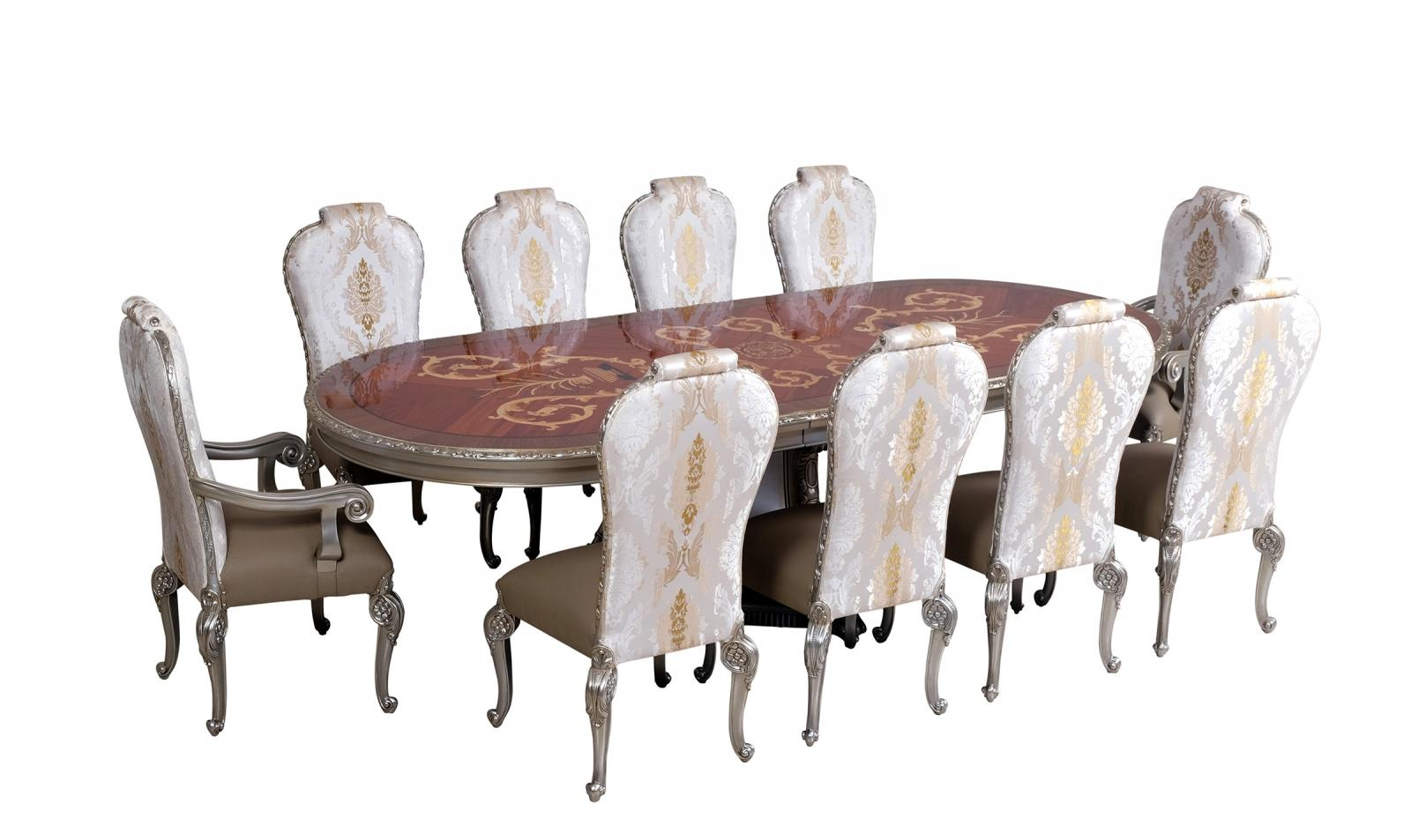 Contemporary, Modern Gold, Ebony, Antique Silver Leather and Fabric, Wood, Solid Hardwood Dining Table Set 11 pcs BELLAGIO by European Furniture