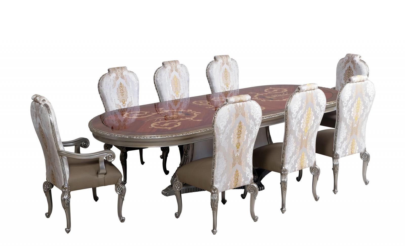 Contemporary, Modern Gold, Ebony, Antique Silver Leather and Fabric, Wood, Solid Hardwood Dining Table Set 9 pcs BELLAGIO by European Furniture