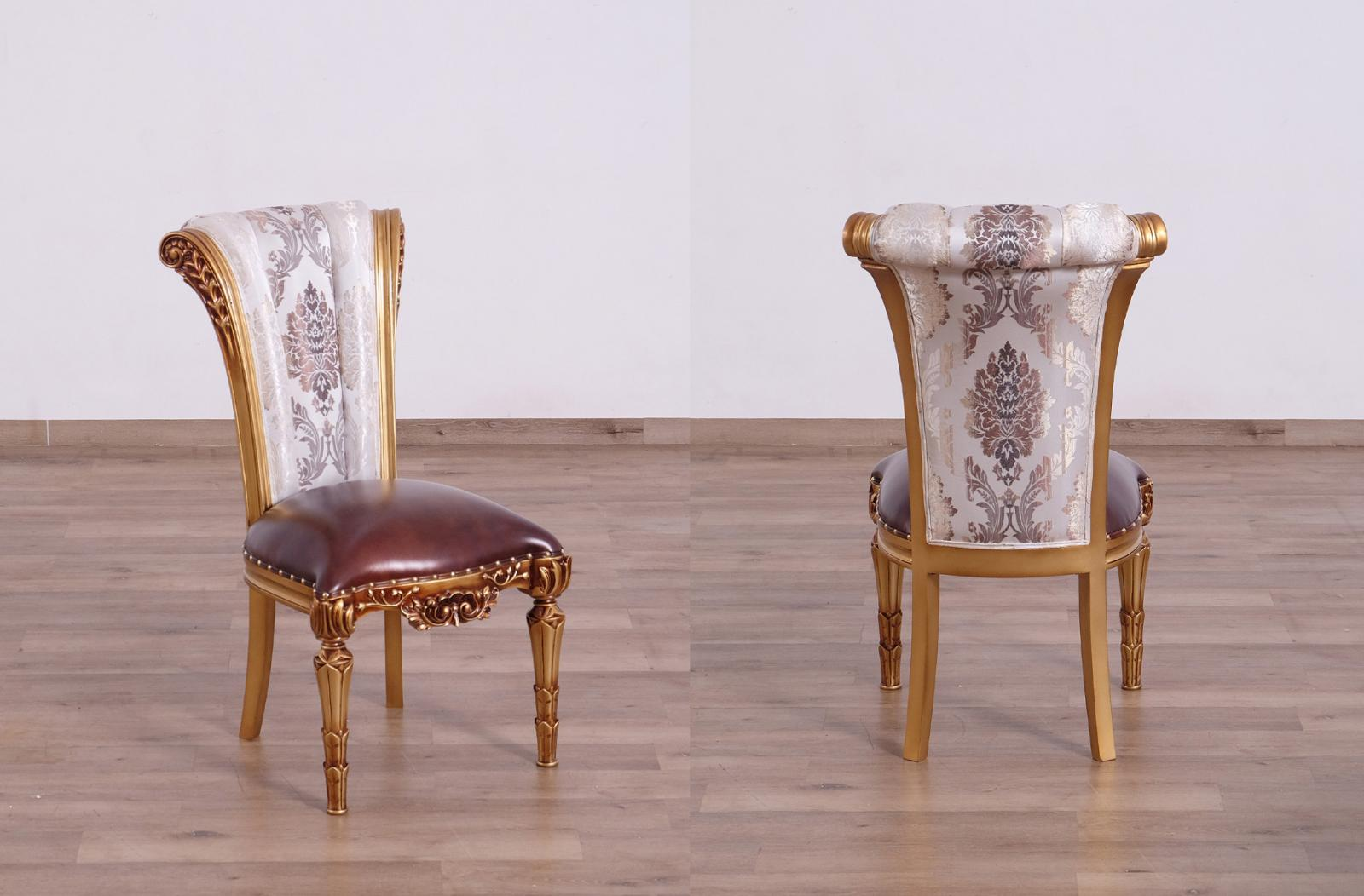 Classic, Traditional Bronze, Gold, Ebony, Pearl Leather and Fabric, Wood, Solid Hardwood Dining Chair Set 2 pcs VALENTINA by European Furniture