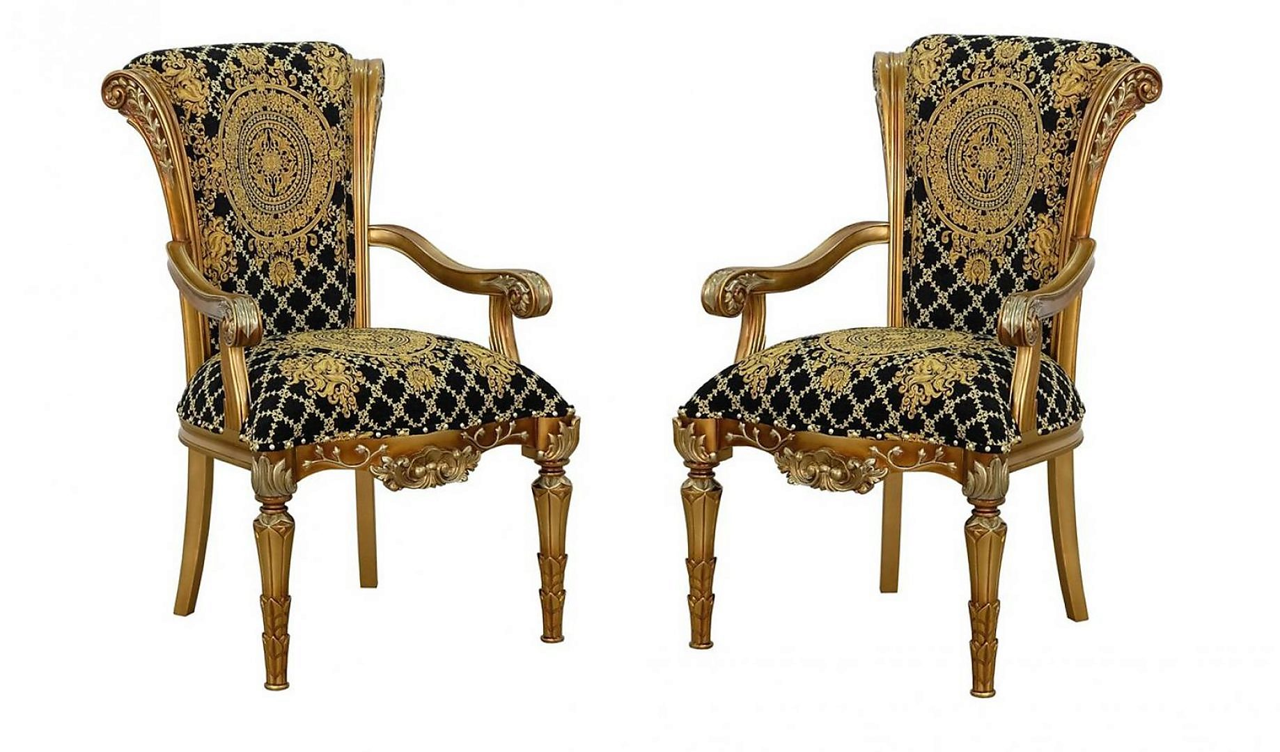 Classic, Traditional Black, Bronze, Gold, Ebony Fabric and Wood, Solid Hardwood Dining Arm Chair Set 2 pcs VALENTINA by European Furniture