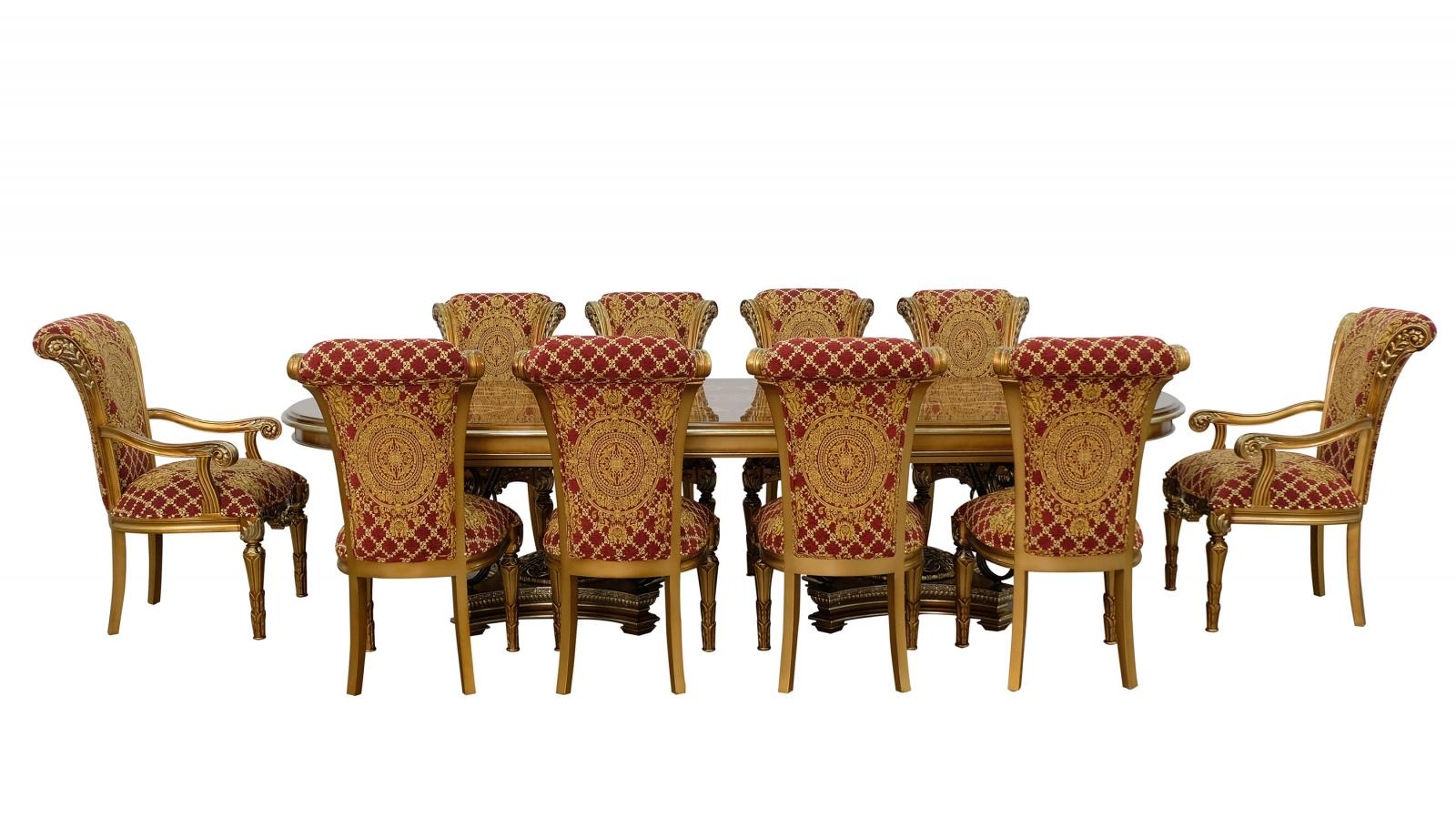 Classic, Traditional Bronze, Gold, Red, Ebony Fabric and Wood, Solid Hardwood Dining Table Set 11 pcs VALENTINA by European Furniture