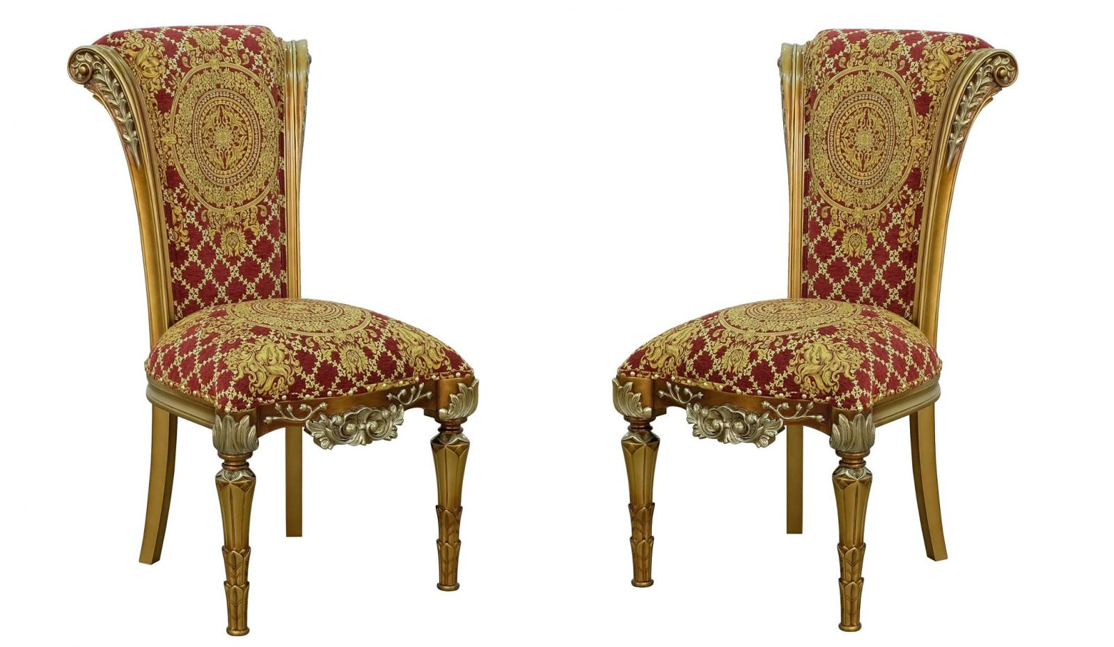 Classic, Traditional Bronze, Gold, Red Fabric and Wood, Solid Hardwood Dining Chair Set 2 pcs VALENTINA by European Furniture