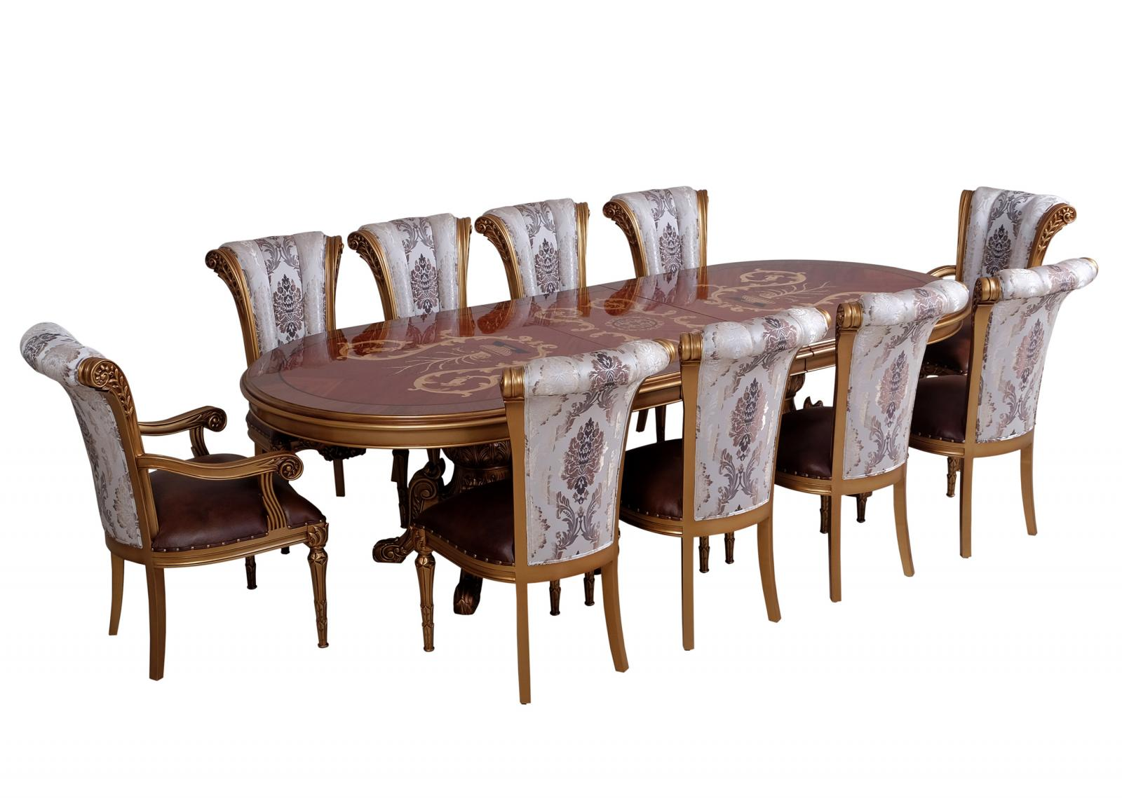 Classic, Traditional Bronze, Gold, Ebony, Pearl Leather and Fabric, Wood, Solid Hardwood Dining Table Set 11 pcs MAGGIOLINI by European Furniture