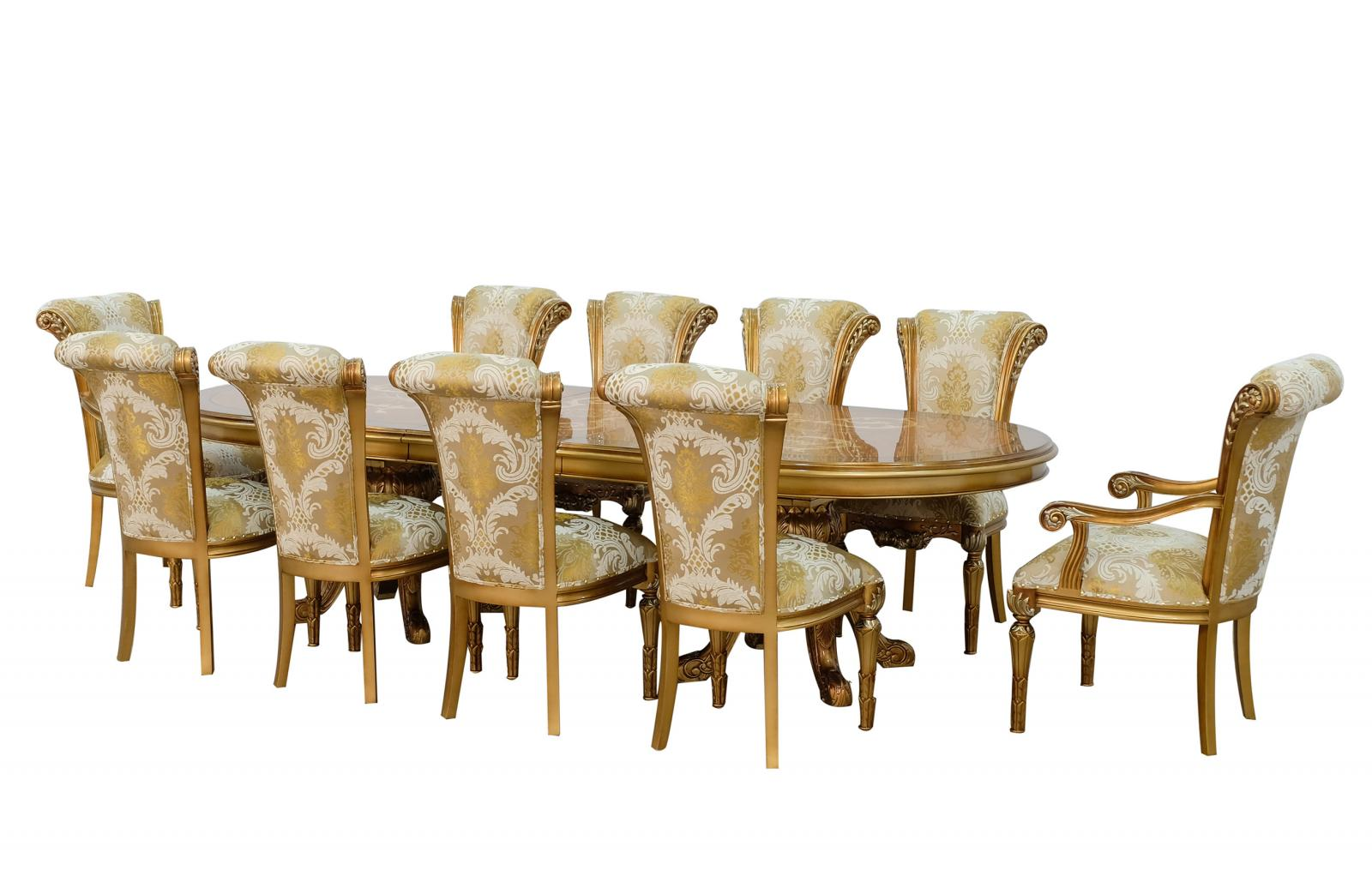 Classic, Traditional Bronze, Gold, Ebony Fabric and Wood, Solid Hardwood Dining Table Set 11 pcs MAGGIOLINI by European Furniture