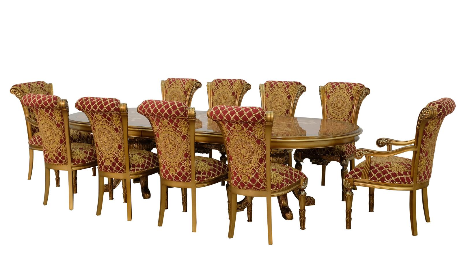 Classic, Traditional Bronze, Gold, Red Fabric and Wood, Solid Hardwood Dining Table Set 11 pcs MAGGIOLINI by European Furniture