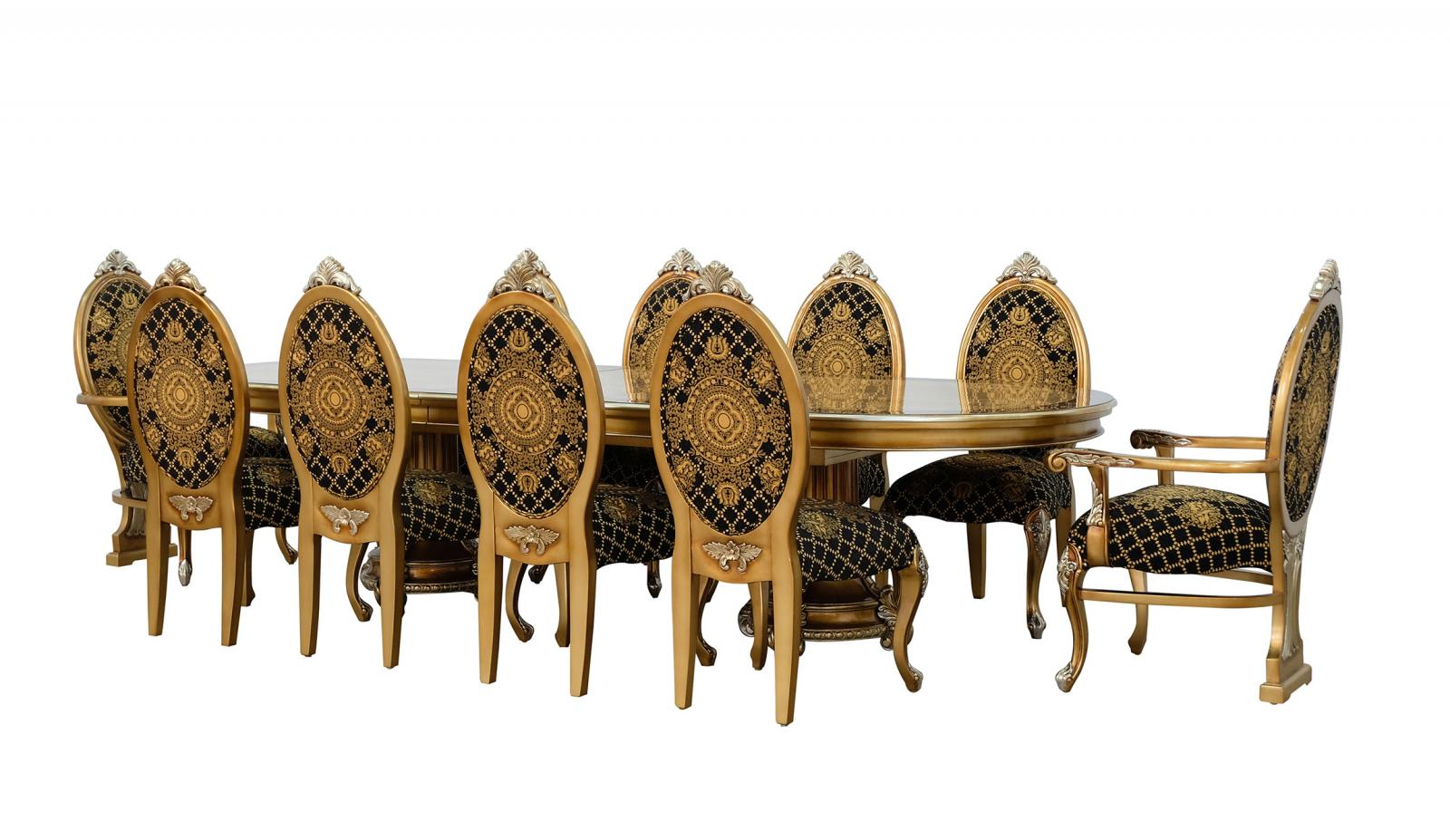 Classic, Traditional Brown, Silver, Ebony Fabric and Wood, Solid Hardwood Dining Table Set 11 pcs EMPERADOR by European Furniture