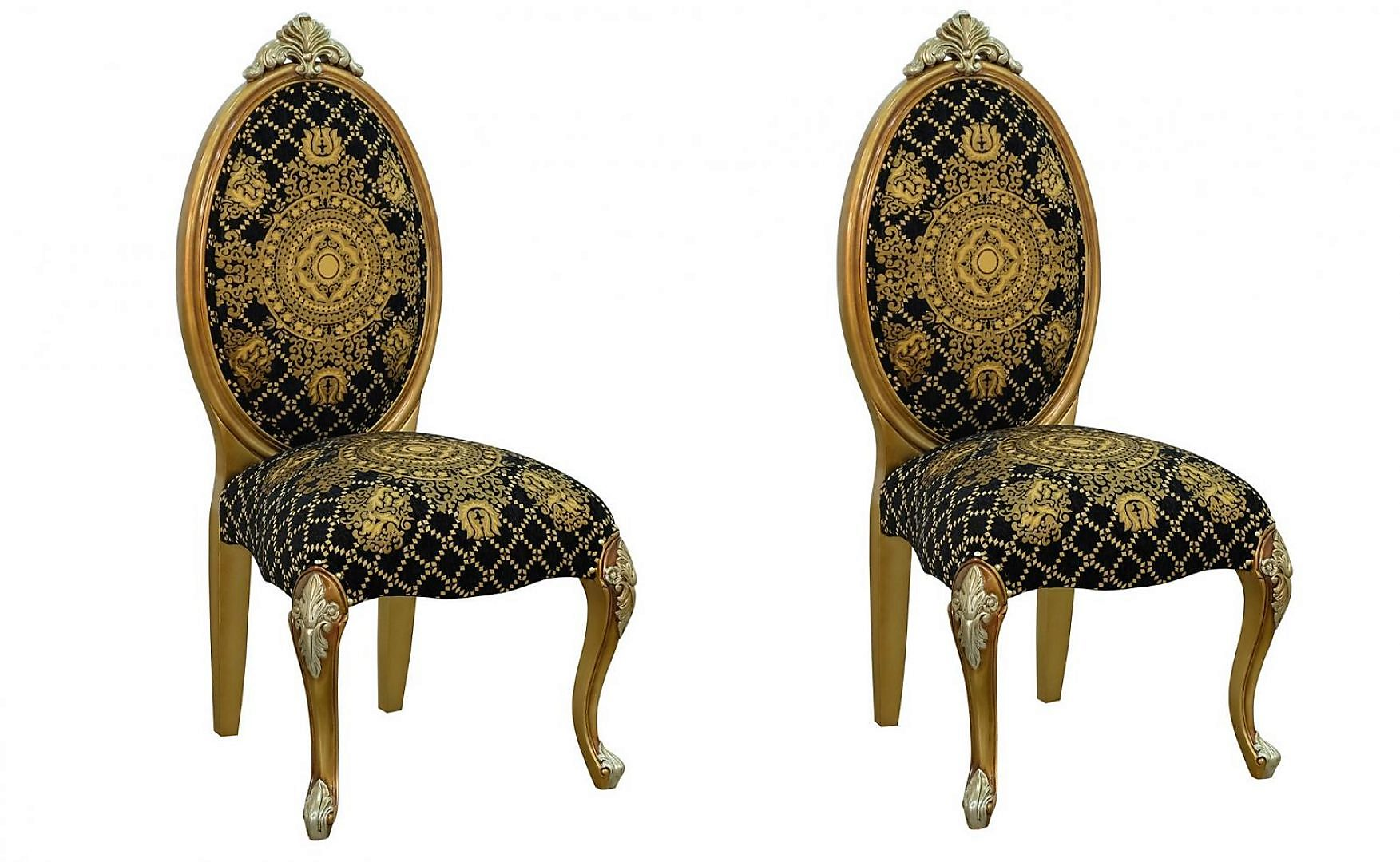 Classic, Traditional Black, Gold, Silver Fabric and Wood, Solid Hardwood Dining Chair Set 2 pcs EMPERADOR by European Furniture