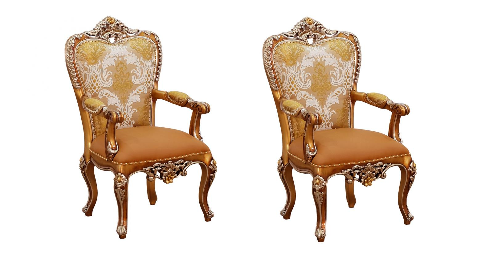 Classic, Traditional Brown, Silver, Ebony Fabric and Glass, Wood, Solid Hardwood Dining Arm Chair Set 2 pcs ST. GERMAIN by European Furniture