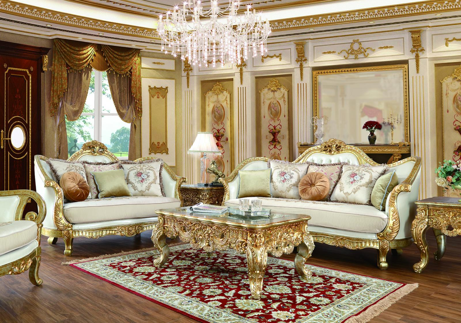 Traditional Antique Silver, Metallic Leather and Fabric, Leather, Wood Sofa Loveseat and Chair 3 pcs HD-91630 by Homey Design