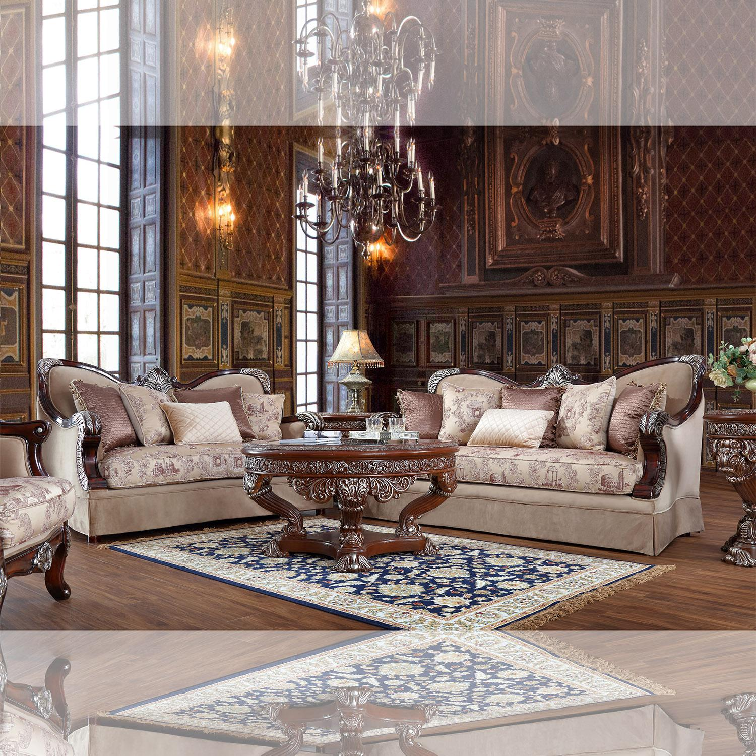 Traditional Beige, Mahogany  Fabric and Fabric, Wood Sofa Loveseat and Chair 3 pcs HD-91862 by Homey Design