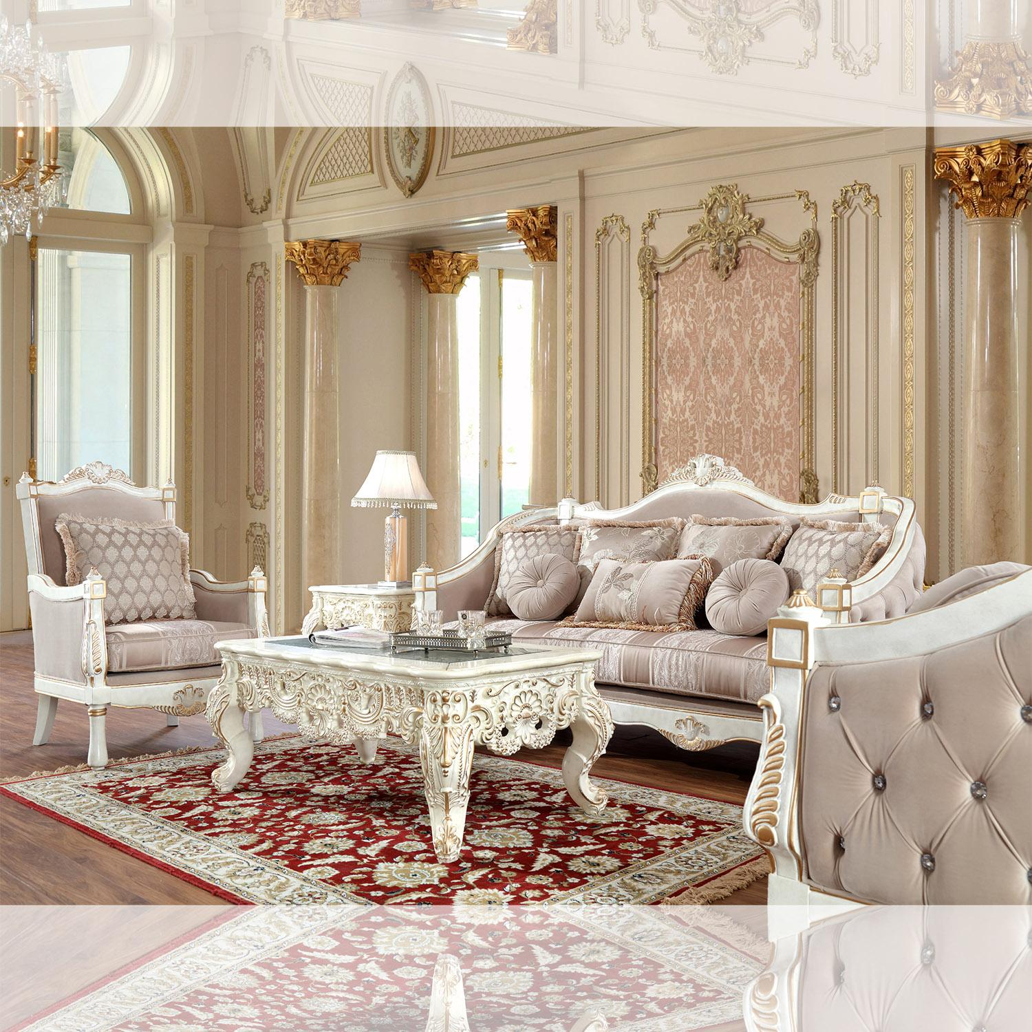 Traditional White, Gold Finish Fabric and Fabric, Wood Sofa Loveseat and Chair 3 pcs HD-9390 by Homey Design