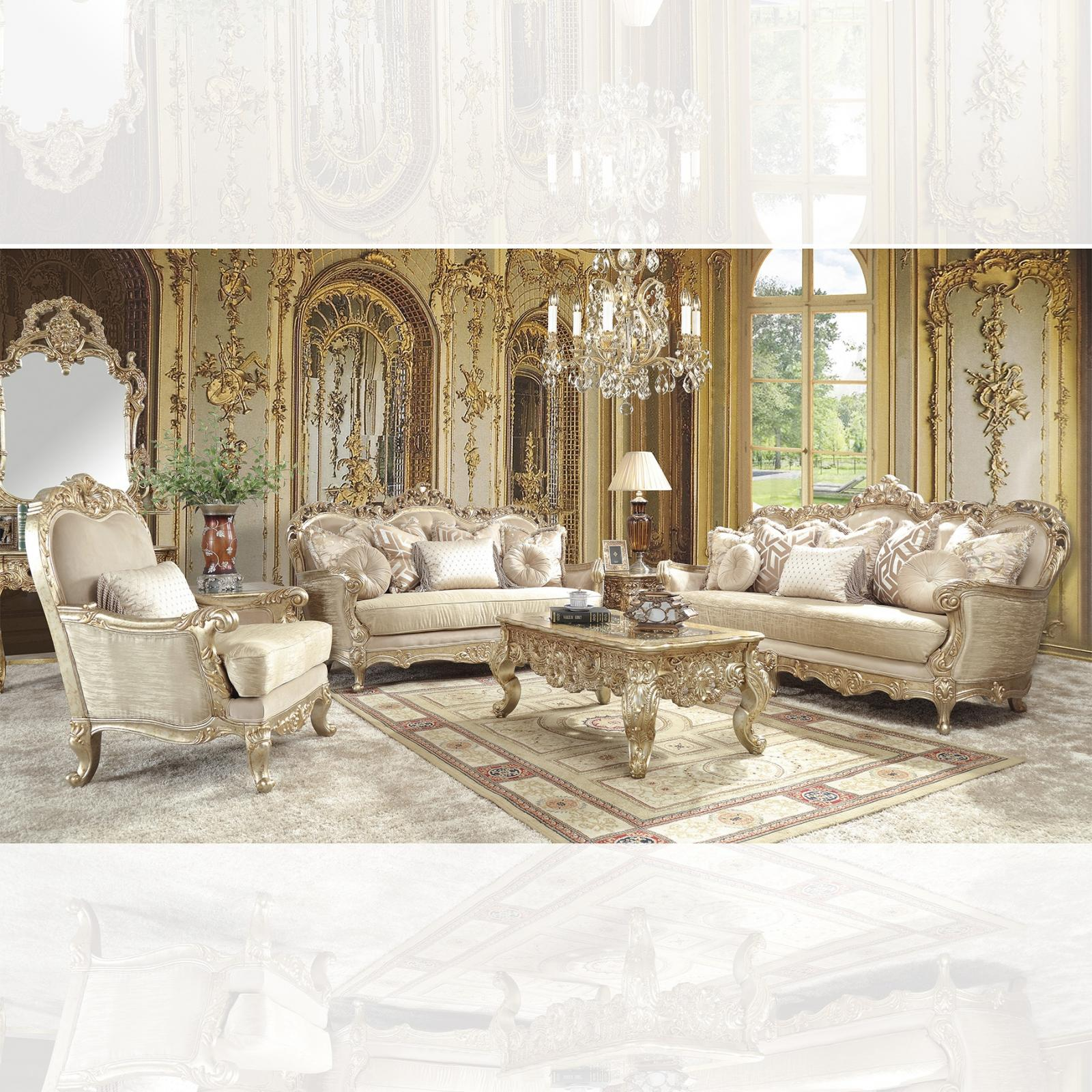 Traditional Champagne, Silver, Gold Finish Fabric and Fabric, Wood Sofa Loveseat and Chair 3 pcs HD-8925 by Homey Design