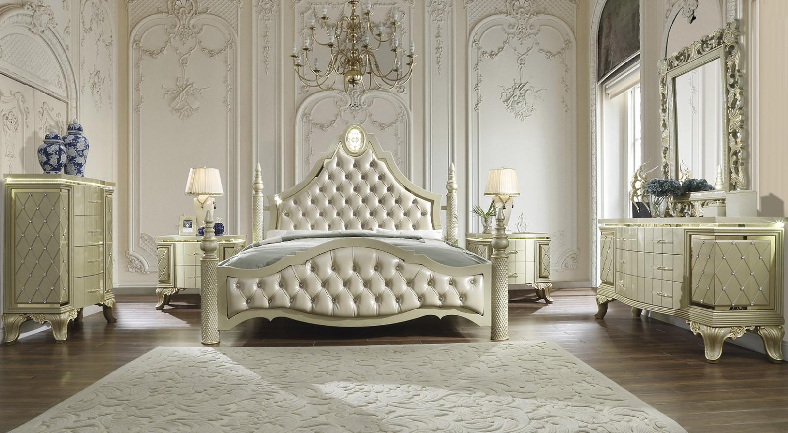 Traditional Gold Leather and Wood King Panel Bedroom Set 5 pcs HD-8092 by Homey Design