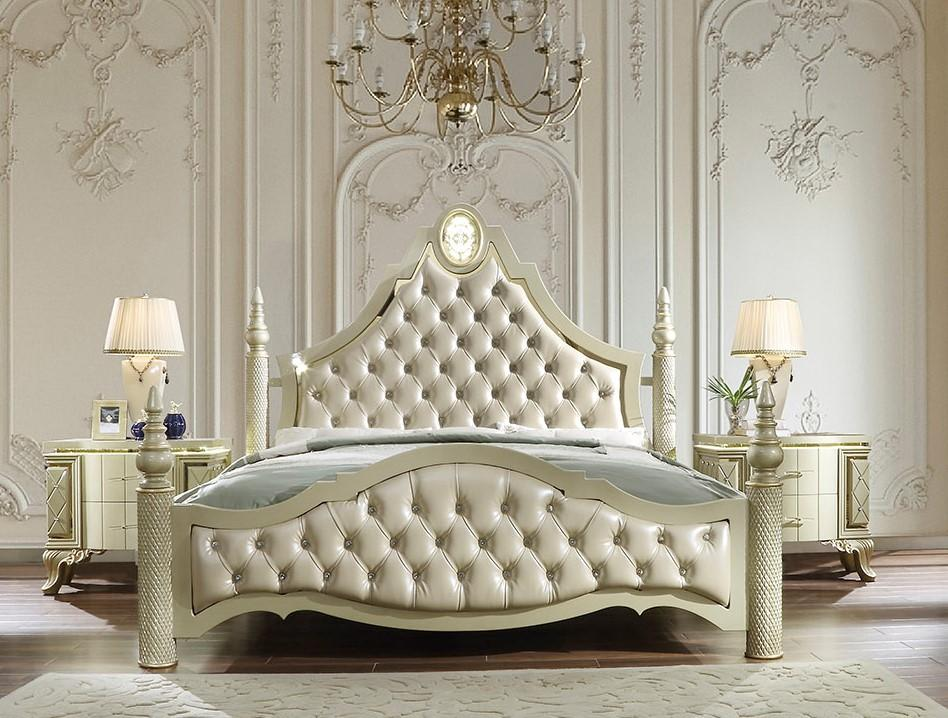 Traditional Gold Leather and Wood King Panel Bed 1 pcs HD-8092 by Homey Design