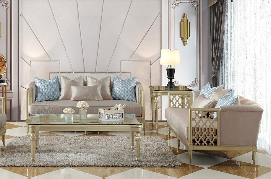 Traditional Champagne Fabric and Fabric, Wood Sofa and Loveseat Set 2 pcs HD-627 by Homey Design