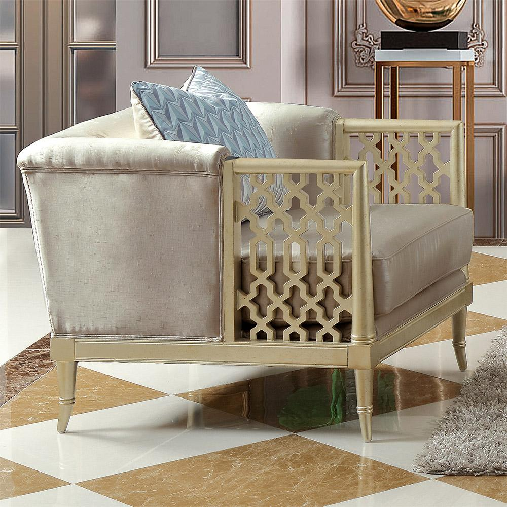 Traditional Champagne Fabric and Fabric, Wood Arm Chairs 1 pcs HD-627 by Homey Design
