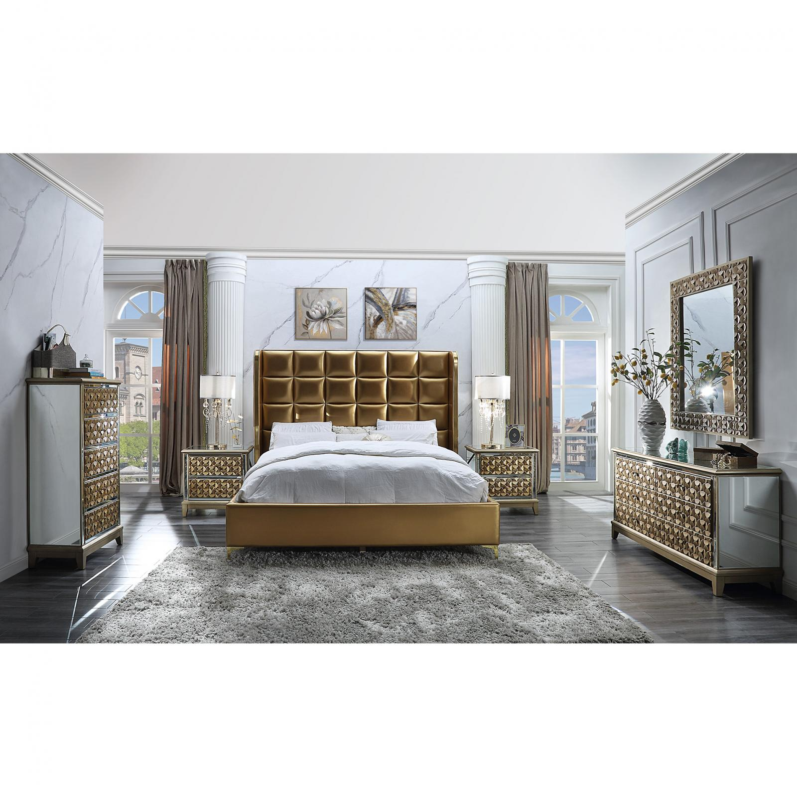 Modern Gold, Antique Faux Leather and Wood Eastern King Panel Bedroom Set 5 pcs HD-6065 by Homey Design