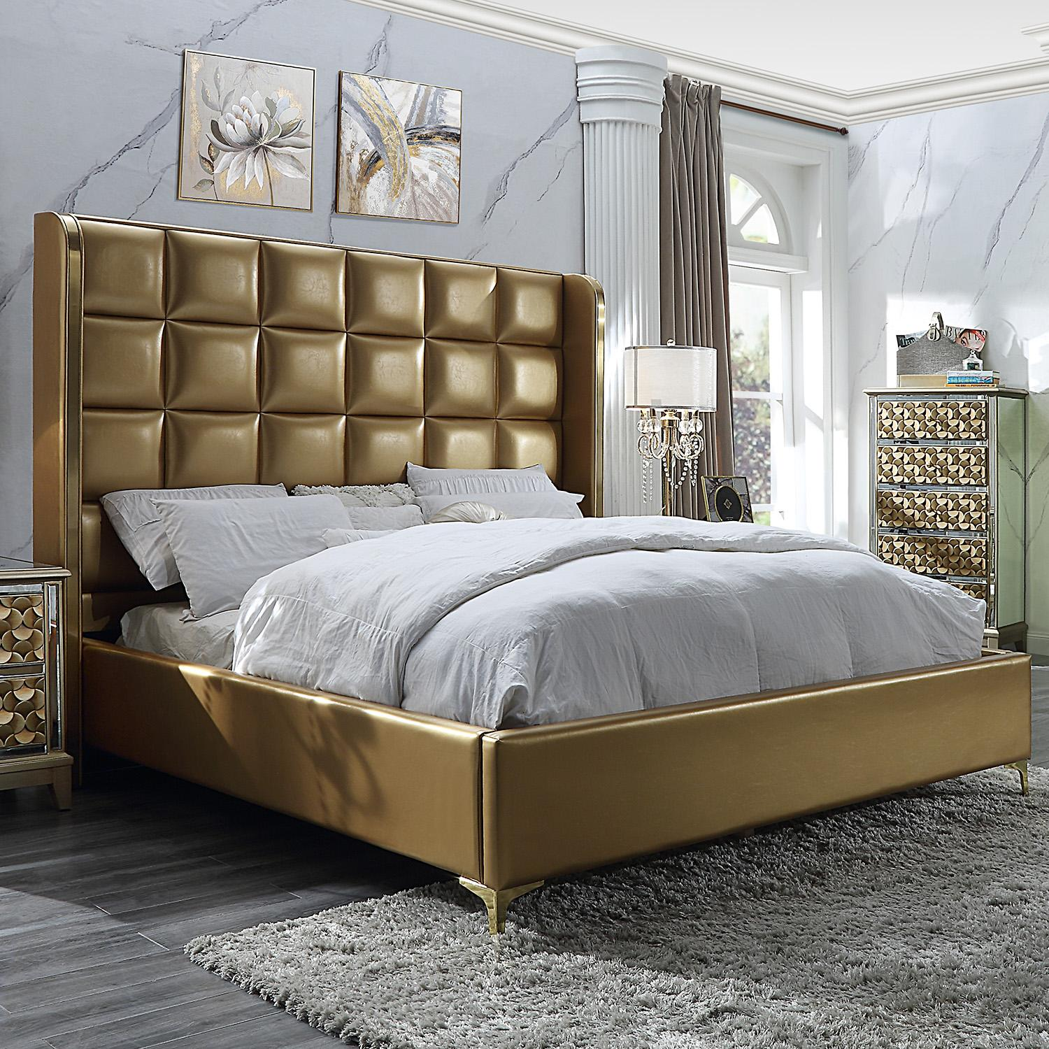 Modern Gold, Antique Faux Leather and Wood King Panel Bed HD-6065 by Homey Design