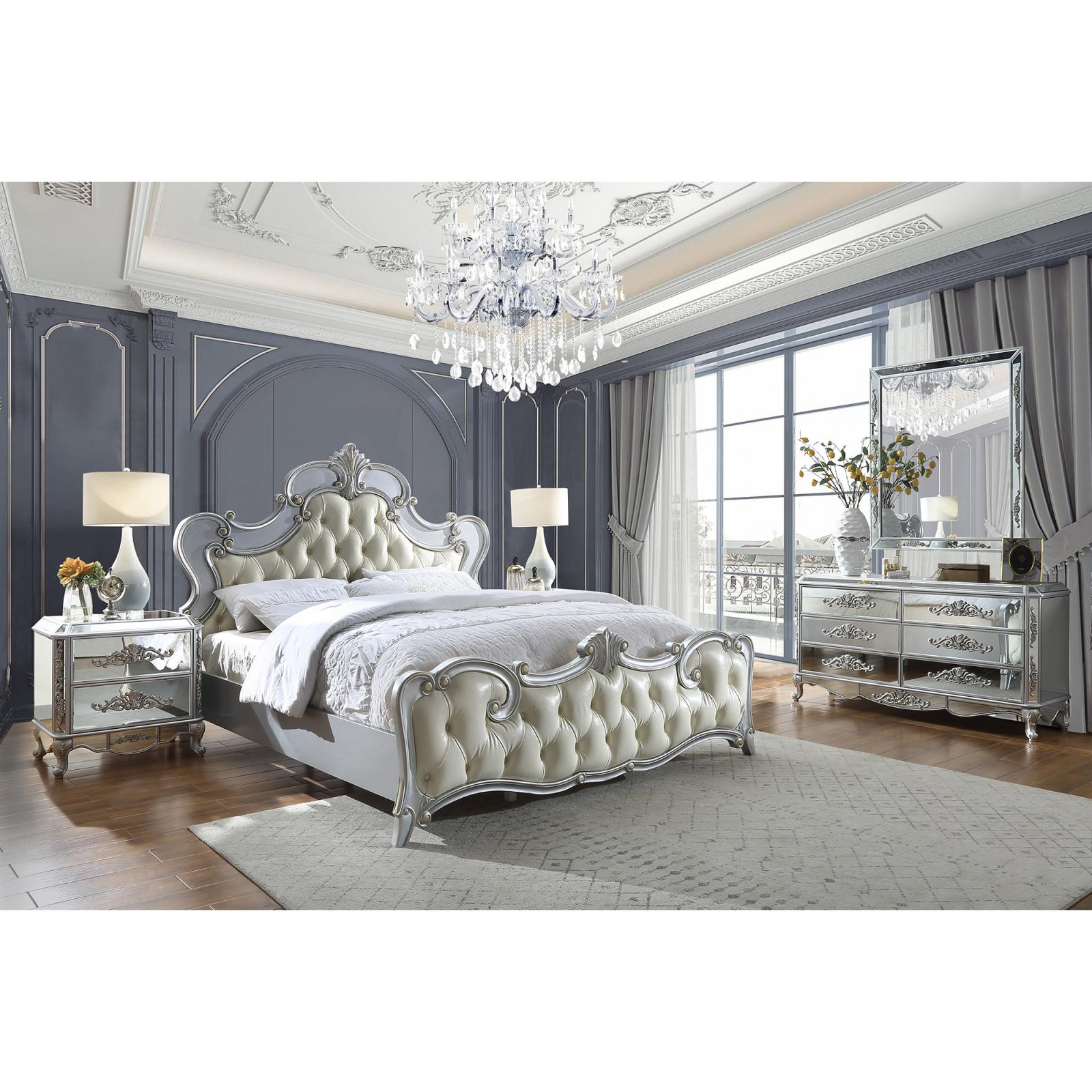 Traditional Silver, Antique Faux Leather and Wood Califronia King Panel Bedroom Set 5 pcs HD-6036 by Homey Design